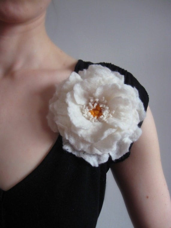 White Whimsical Flower Brooch Hand Felted From Wool,bridesmaid gift idea