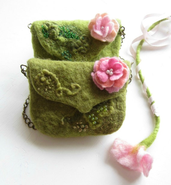 Olive Green  Purse with Beads Hand felted