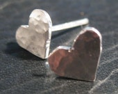 Hammered Heart Studs Small Handmade Sterling Silver Heart Studs
