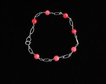 Sterling Silver Coral Bracelet. Listing  40481545