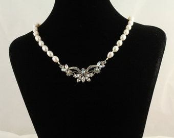 Freshwater Pearls and Rhinestone Necklace Set. Listing  94425255