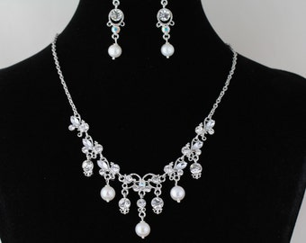 Rhinestone and Freshwater Pearl Necklace Set.Listing  103094674
