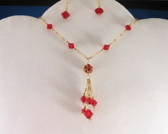 Red Crystal Necklace Set. Listing  19367205