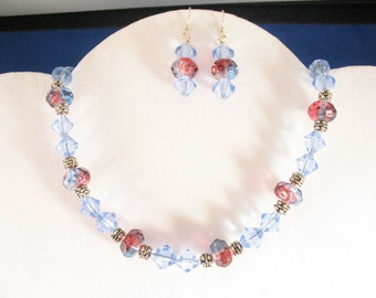 Red and Blue Glass Necklace. Listing  21019863