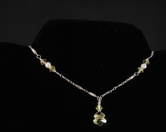 Freshwater Pearl and Crystal Pendant. Listing 21653396