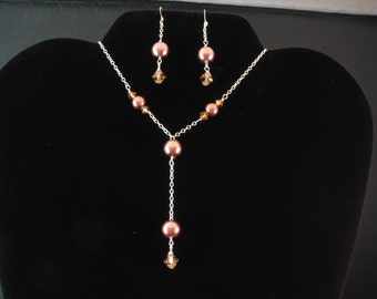 Glass Pearl and Crystal Necklace. Listing  25146068