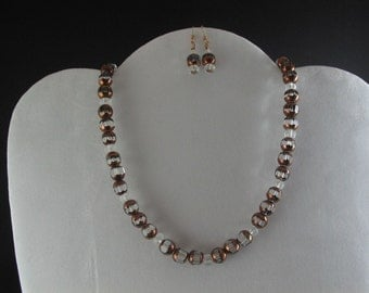 Copper Glass Necklace Set. Listing  26635296