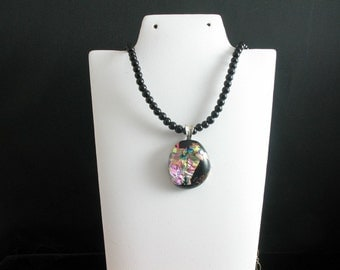 Dichroic Glass Necklace. Listing 28621051