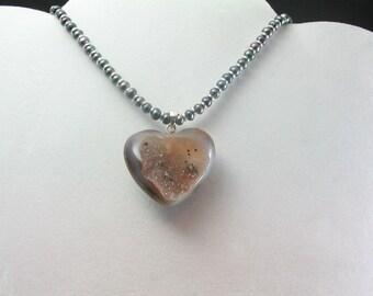 Drusy Quartz Heart Necklace. Listing  30345757