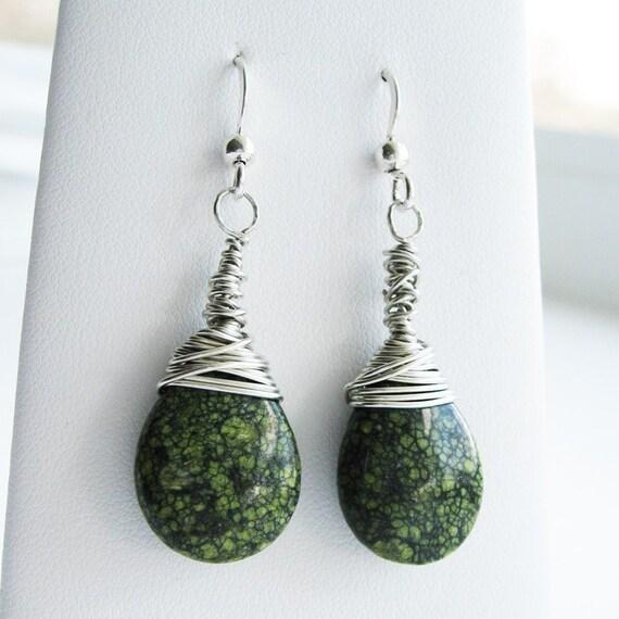 Wire Wrapped Serpentine Dangle Earrings