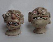 Zombies stoneware high fired hand sculpted salt and pepper shaker set