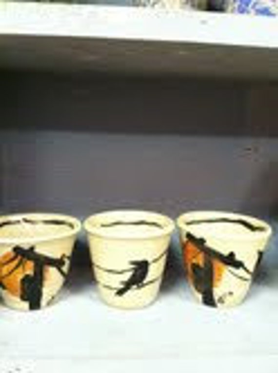 black crow raven stoneware cups original hand painted design