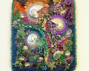 OCEANA Raised Texture Beaded Wall Tapestry