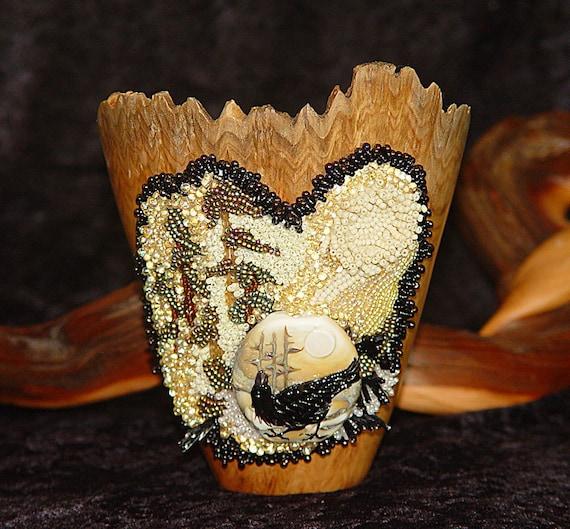 Golden Raven Beaded Vase