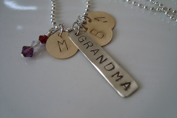 Custom Hand Stamped Necklace-Grandma with Initials and crystal dangles..I can customize it for you.
