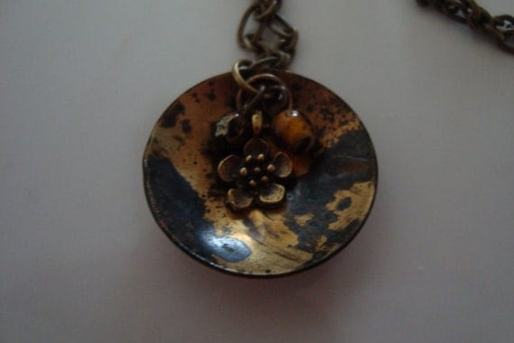 Hand Forged Antique Brass Patina Necklace