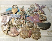 LOT OF 29 VINTAGE METAL PIECES....jewelry.. collage..accessories
