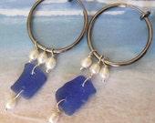 Genuine Sea Glass earrings- Blue- for NON Pierced Ears -Hoops