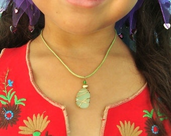 Sea Glass and Pearl Necklace for Girls- Sea Foam
