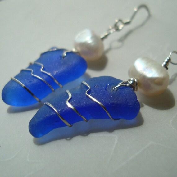 Mini Blue Sea Glass Earrings -Wrapped Daggers