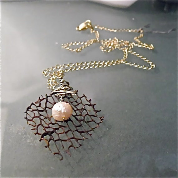 Black Sea Fan And Pearl nugget Necklace