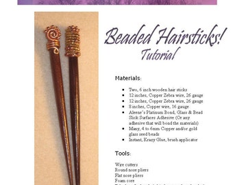 TUTORIAL Copper Wire Wrapped Beaded Hair Sticks,  Beginner Projects