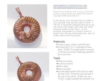 TUTORIAL Jewelry, Copper Wire Reversible Donut Pendant Pattern, Handmade Jewelry, Beginner