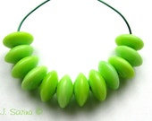 Spring Green Opal Small Lampwork Disc Spacer Beads Set of 12 by J. Savina