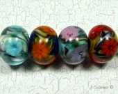 Reserved for TruExpressions 4 Floral Focal Lampwork Beads   with Handmade Murrini by J. Savina SRA C86