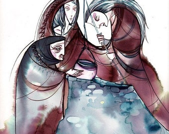 the 3 norns -8.5x11 watercolor print