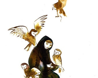 midnight offering owl woman -8.5x11 print