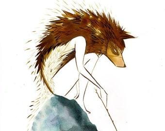 Young Fenrir, wolf boy-8.5x11 print