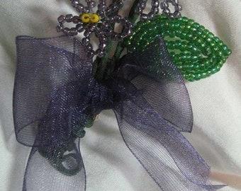 Violets French Beaded Flower Brooch Purple Organza Ribbon
