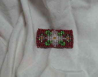 Petite Floral Bar Pin Red Pink Apple Blossom