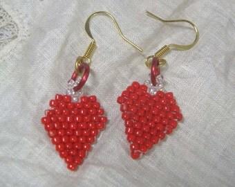 Red Heart Seed Bead Earrings