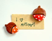 fridge magnet acorns polkadots 2 magnets