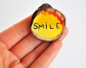 smile brooch eco-friendly illustrated wooden pin