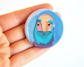 fridge magnet mustache man clay magnet