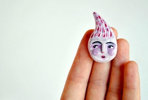 brooch lilac drop clay pin