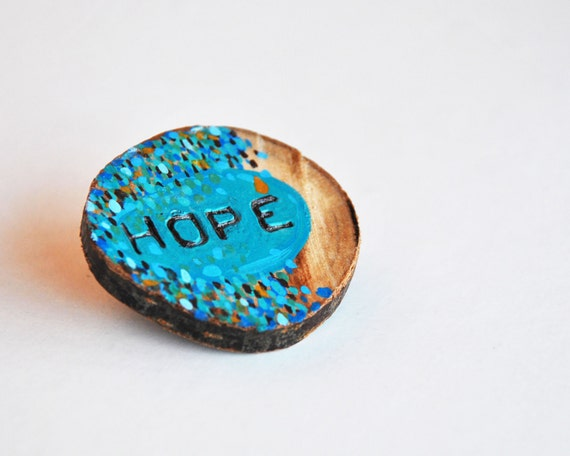 hope wood brooch eco-friendly illustrated wooden pin