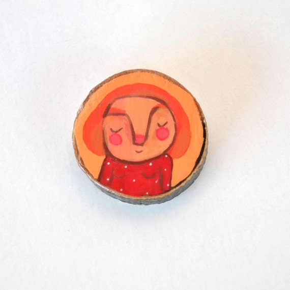 orange red brooch eco-friendly wood pin shy girl