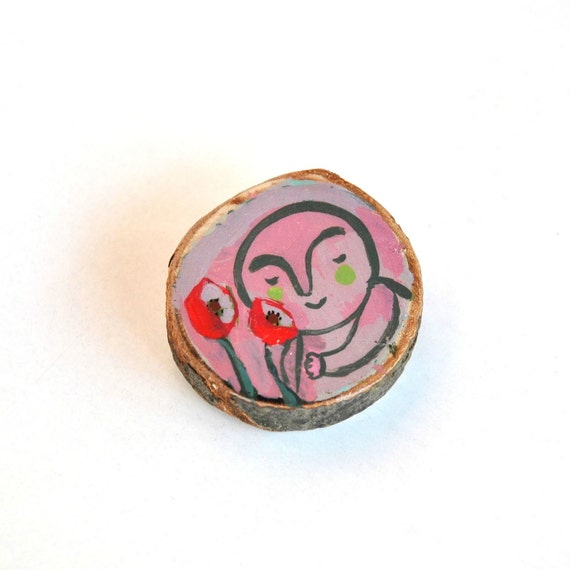 RESERVED poppies eco-friendly wooden pin