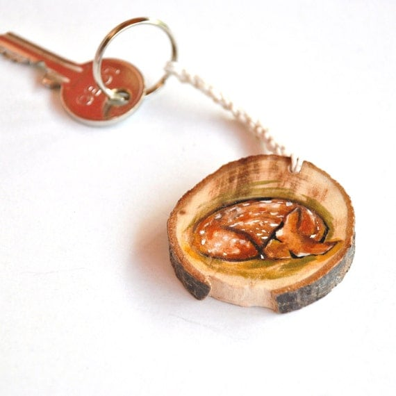 Eco friendly deer wooden keychain