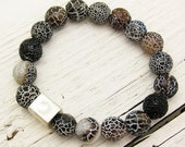 15% OFF Lava Agate and  Sterling Silver Beaded Bracelet under 50