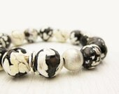 Mocha Black & Cream Bracelet / Agate with Sterling Silver / Gemstone w/ Brushed Silver / swirl large stones / artistic bohemian