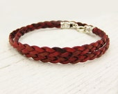 Red Braided Leather Wrap Bracelet with Solid Sterling Silver:  bangle berry color bohemian urban