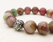 Watermelon Agate Sterling Silver Bead Bracelet : tourmaline juicy white green pink colored / colorful fresh romantic
