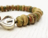 Natural Stone Bracelet / Unakite Coconut Wood & Sterling Silver Leaf / woodland safari camping inspired / bohemian brown neutral khaki