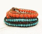 Tangerine Coral & Turquoise Wrap Bracelet Set / boho bohemian tribal ethnic orange blue / bright colorful stacking