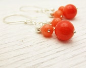 Tangerine Orange Coral Earrings in Sterling Silver, Modern Retro Cluster Dangle Earrings, Bright Colorful Autumn Style, Winter Sparkle Balls